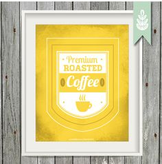 Printable Yellow Coffee Art - 8x10 Art Print - Kitchen Art Print - INSTANT DOWNLOAD by greenoriginals on Etsy