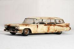 Cadillac Ambulance Barnfind Junk yard Rust 1/25 #AMTbyRound2
