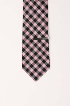 Check Slim Tie With Tie Bar