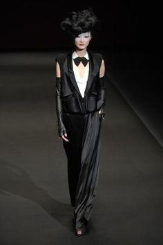 Designer Hiroko Koshino. Amazing cuts on womenswear suiting, mixing satins & leathers for Fall Winter 2012- 2013