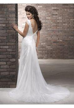 Etui-Linie aus Tüll V-AusschnittT Ärmellos mit Kapelle-Schleppe Reißverschluss Weiß Tolle Hochzeitskleider günstig #USAHSMG127