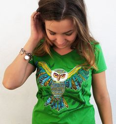 Handpainted Tee | Meet Forest Owl Mollie Makes, Start Up Business, New Product, Custom Design, Awards 2017, Tees, Womens Fashion, Cotton, Owl