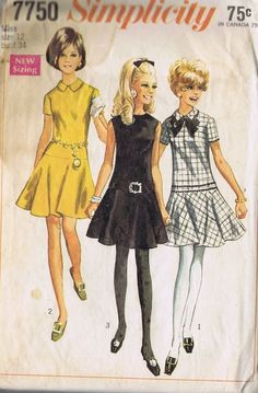 One Piece DRESS Vintage SEWING PATTERN SIMPLICITY 7750 SIZE 7 BUST 31 HIP 33 CUT