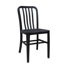 Aluminum Cafe Navy Side Chair with Black Finish