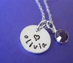 Tiny Tag - Hand Stamped Sterling Silver Necklace with a Birthstone