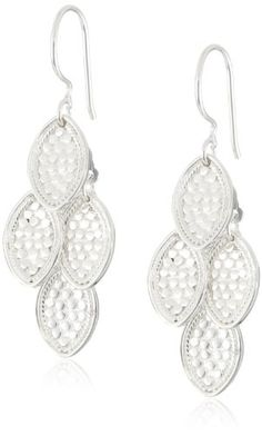"""Anna Beck Designs """"Gili"""" 18k Sterling Silver Small Leaf Chandelier Drop Earrings - Fashion Jewelry"""