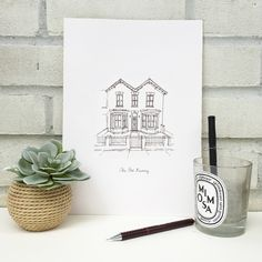 A beautifully simple line drawing of your home on high quality paper using fineliners and pencil. Personalized Anniversary Gifts, Personalized Gifts, Handmade Gifts, House Illustration, Paper Anniversary, Simple Lines, Line Drawing, House Warming, How To Draw Hands