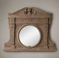 Hand-Carved Italian Pediment Mirror in wood.  Something like this would look great above the fireplace.  Would have to stain it to match the color tho.. Unfortunate.