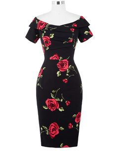 Quality Women Summer Dress Vestidos Sexy Off The Shoulder Rose Print Bodycon Slim Pencil Dress Big Size Rockabilly Vintage Dresses with free worldwide shipping on AliExpress Mobile Elegant Summer Dresses, Summer Dresses For Women, Sexy Dresses, Cute Dresses, Short Sleeve Dresses, Dress Summer, Awesome Dresses, Cheap Dresses, Long Sleeve