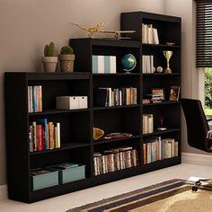 South Shore Smart Basics 3-Piece Bookcase Value Bundle, Black