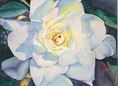 Gorgeous watercolor gardenia http://www.lynncornishwatercolors.com ...