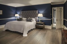 From where we'd all rather be on a Monday! How cozy does this room look? Complemented beautifully by Hawoods Oak Fendi engineered timber flooring from the Venture Plank range. Wood Flooring Uk, Engineered Timber Flooring, Timber Planks, White Wood Floors, Cosy Bedroom, Master Bedroom, Hotel Room Design, Country House Hotels, Bedroom Ideas