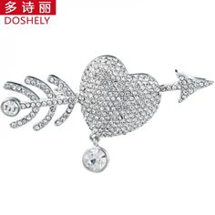 Fashion Delicate Crystal Brooches Silver Colored Feather Shape Brooch pin Hot