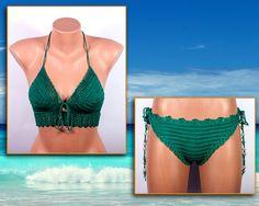 Crochet bikini GREEN Swimsuit Summer trends by LoveKnittings