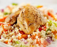 Grilled marinated Chicken with Quinoa/Vegetable Pilaf - @spicehunter #GreatGrillin