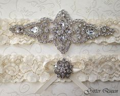 BEST SELLER Ivory Lace Garter Set, Wedding Garter Set, Bridal garter Set, Rhinestone Garter, Lace Wedding Garter  **********************************************************  I have no words to describe this beautiful garter set.... let our customer tell us what she felt when she received it:    Hi Violetta!  I received the garter, and I cannot get over how absolutely stunning it is!!!!... I have been involved in a lot of weddings over the years, and have never seen anything like this…
