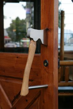 Custom Axe Door Pull - overall length in solid aluminum Axe head in satin nickel attached to wood handle bottom. Installed on the entry doors to multiple restaurant locations on the West Coast Vintage Industrial Furniture, Wood Furniture, Throwing Axe, Door Knobs And Knockers, Black Door Handles, Creation Deco, Door Pulls, My New Room, Woodworking Projects