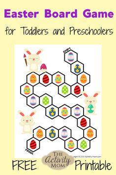 Easter Board Game for Toddlers and Preschoolers. This free, printable Easter game for kids is a fun way to practice counting, visual discrimination, and one to one correspondence. Easter Activities For Toddlers, Easter Activities For Kids, Games For Toddlers, Preschool Games, Kids Learning Activities, Easy Crafts For Kids, Toddler Preschool, Printable Games For Kids, Printable Board Games