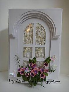 Card by Ashmita  (033011)  windowbox  hand cut, no dies!