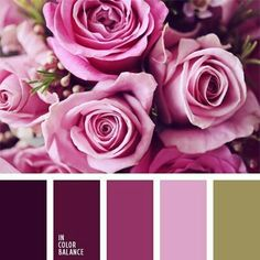 Floral color palette of plum, pink, and green.