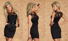 SEXY WOMENS LADIES BLACK LACE BODYCON PENCIL WIGGLE DRESS WITH BELT SIZE 8-10  | eBay