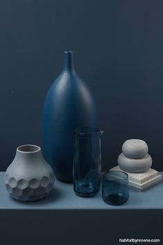 Try stormy blues in a tonal scheme with a wall in Resene Cello and a tabletop in Resene Seachange. Other colours include a tall vase in Resene St Kilda, a hone. Dark Blue Green, Purple, Resene Colours, Freedom Furniture, Peony Rose, Paint Samples, Duck Egg Blue, Tall Vases, Linen Napkins