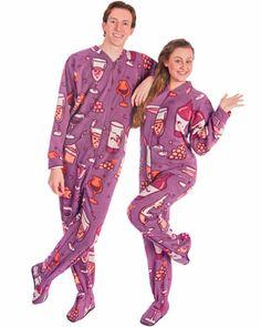 Wine Lovers Print Footie Pajamas, Wine Lovers Footed Pajamas