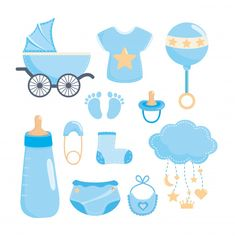 Set of baby shower elements Free Vector Use to make baby bag check list and hospital delivery check list Baby Shower Azul, Deco Baby Shower, Unisex Baby Shower, Baby Shower Cards, Baby Boy Shower, Baby Shower Gifts, Baby Boy Scrapbook, Scrapbook Bebe, Dibujos Baby Shower