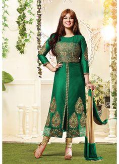Exclusive Designer Green Churidar Salwar Kameez