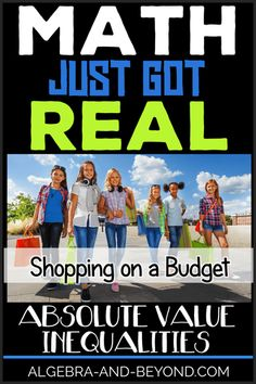 REAL WORLD PROJECT: Absolute Value Inequalities. This project reinforces students understanding of absolute value inequalities in a fun way! Integrates technology, shopping, and math for a perfect PBL activity. Algebra Activities, Math Resources, Classroom Resources, Classroom Ideas, Math Teacher, Teaching Math, Absolute Value Inequalities, Math Quotes, Middle School Writing