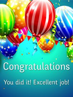 Colorful Balloons Congratulations Card: Celebrate the good times with this dynamite congratulations card! When someone has worked hard and achieved a big goal, it's always a good idea to wish them an enthusiastic congratulation. This congratulatory greeting card is a colorful display of polka-dotted and striped balloons, festive banners, and confetti. Blow on a kazoo or give a high-five, but don't forget to send this fun congratulation card today!