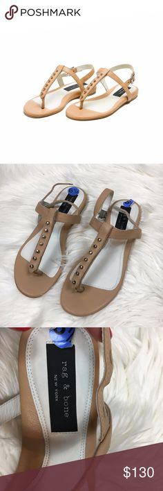 RAG & Bone ELI Studded t-strap leather sandals RAG & BONE Women's ELI studded t-strap leather sandals. New without box! minor marks to sole from store. retails for $295! Size 37 which is about a 6.5/7 in US sizing. rag & bone Shoes Sandals