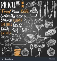 Set of different hand drawn food elements, hand lettering and decor for restaurant menu, flyer or other item design on the blackboard Fresh Meadows, Breakfast Soup, Menu Flyer, Letter Set, Food Drawing, Blackboards, Paint Pens, Menu Restaurant, Royalty Free Photos