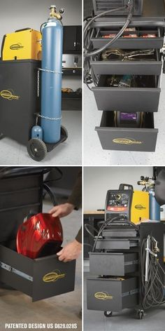 This patented Northern Industrial Welders Deluxe Welding Cabinet provides an integrated all-in-one solution for your welding set&am. Welding Table Diy, Welding Cart, Welding Tips, Metal Welding, Welding Torch, Wood Turning Lathe, Wood Turning Projects, Metal Projects, Welding Projects