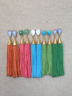 Multi Stud Beaded Tassel Earrings