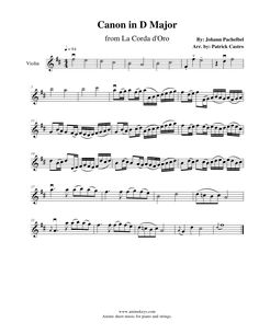 1st Violin sheet music for Canon in D Major from La Corda D'oro~Primo Passo