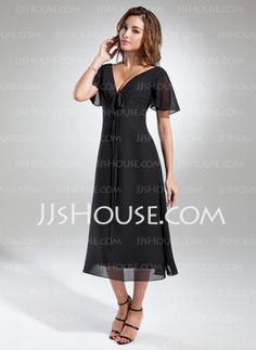 A-Line/Princess V-neck Tea-Length Chiffon Mother of the Bride Dress With Ruffle (008015560) - JJsHouse