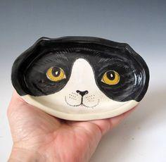 Небольшие керамические Face Cat Dish держателя кольца Соль Блюдо на MaidOfClay