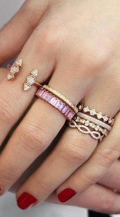 Rose gold stacks #diamonds #rings #danarebecca