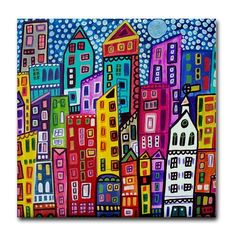 Xmas Delivery Available- New york City art Tile Ceramic Coaster Mexican Folk Art Print of painting by Heather Galler City Skyline Art, City Art, Ceramic Tile Art, Art Tiles, Abstract City, Abstract Print, Painting Abstract, Kunst Poster, Nyc Art