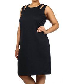 Loving this Black Double-Strap Midi Dress - Plus on #zulily! #zulilyfinds