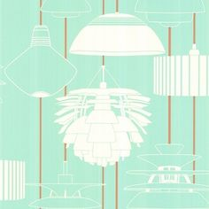 Harlequin's Illuminate- A retro selection of stylized lampshades, in a palette of '50s Aqua, White and Terracotta.