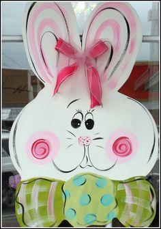 Large Wooden Easter Bunny Door Hanger Decor Art by ladeedahart, $45.00