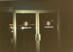 Front doors into the hotel from valet parking - night - August 1990