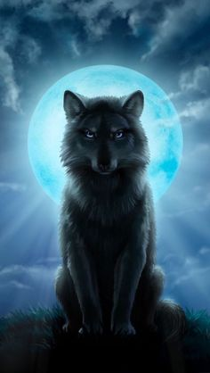 Wolf under a full moon - Wolf under a full moon - Fantasy Wesen, Fantasy Wolf, Anime Wolf, Wolf Artwork, Wolf Painting, Wolf Spirit Animal, Wolf Wallpaper, Black Wallpaper, Beautiful Wolves