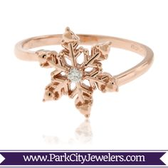 Rose Gold with Diamond Snowflake Ring This diamond snowflake ring was hand carved to be as unique as the snowflakes that fall during a winter storm. The snowflake is handset with a single diamond to add the sparkle that is only seen after a pure snow. Engagement Rings Sale, Vintage Engagement Rings, Diamond Engagement Rings, Wedding Engagement, Morganite Ring, Diamond Solitaire Rings, Snowflake Ring, Snowflake Jewelry, Bridal Rings