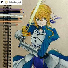 Saber from Fate/stay night!  . . #fatestaynight #Draw #Drawing #Art #Fanart #Artist #Illustration #Design #sketch #doodle #tattoo #Arthelp #Anime #Manga #Otaku #Gamer #Nerdy #Nerd #Comic #Geek #Geeky . . Geek drawings gallery.  Use #ArtForGeeks for a chance to be featured  Artist credit