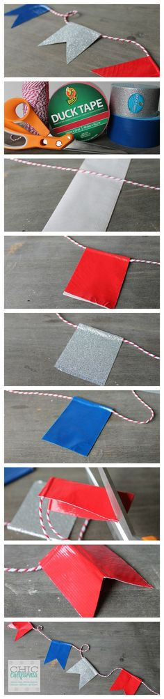 Duct tape banner - with all the different tape out there, this would be so easy to make for any occasion.:
