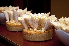 Sheet music popcorn cones.  Great for after party at recitals