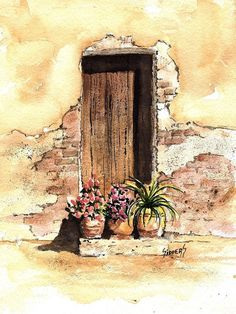 Door Print featuring the painting Door With Flowers by Sam Sidders